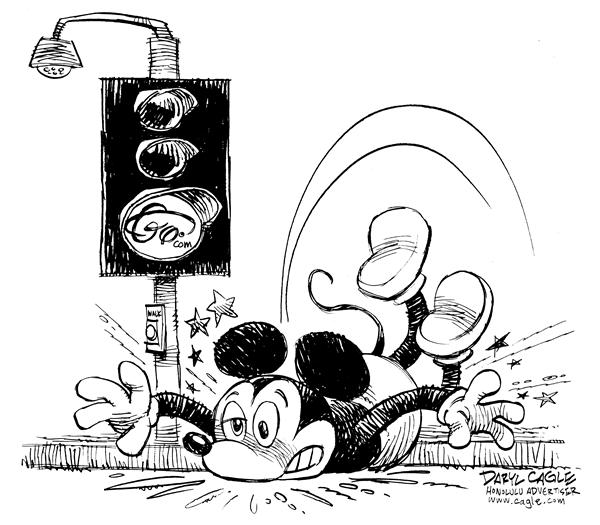 Daryl Cagle - MSNBC.com - Go Dot Com - English - Mickey Mouse, Go, internet, fall, face, Disney, traffic light, trip, sidewalk, dot com, .com, internet