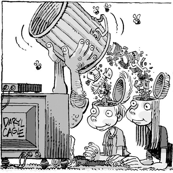 Daryl Cagle - MSNBC.com - Btv Garbage - English - garbage, kids, television, trash, mind, brain, fill, flies, rotten, tv television