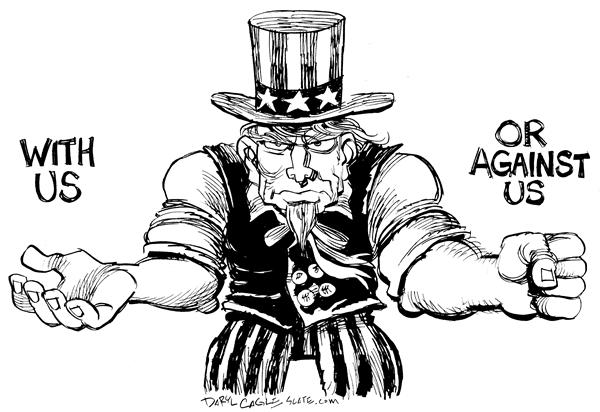 Daryl Cagle - MSNBC.com - With Us Against Us - English - Uncle Sam, against, us, side, with, muscles, pride, war, terror