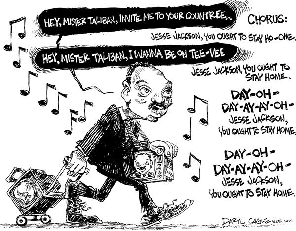 Daryl Cagle - MSNBC.com - Jackson Song - English - Jesse Jackson, song, Taliban, tv, country, invite, home, go, television, war