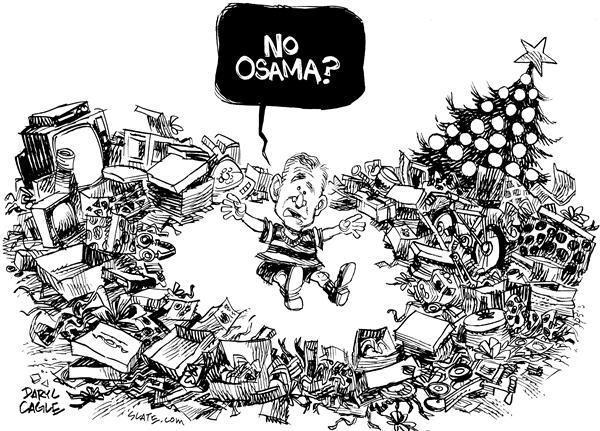 Daryl Cagle - MSNBC.com - After Xmas Osama - English - Christmas, presents, tree, Osama, gift, open, President Bush, kid, Bin Laden, Xmas, after, toys