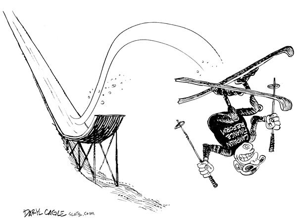 Daryl Cagle - MSNBC.com - Campaign Finance Reform - English - campaign finance reform, skiing, Olympics, fall, crash, jump, skiing