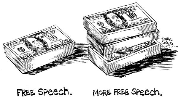Daryl Cagle - MSNBC.com - Free Speech - English - free speech, money, pay, $100, stacks, bills