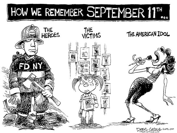 Daryl Cagle - MSNBC.com - American Idol and 9 11 Memorial - English - American Idol, Kelly Clarkson, 9-11, September 11th, Memorial, Fireman, FDNY, terrorism, victims, missing, children, child, kid, heroes, hero, memorial, remember, ground zero, 0, twin towers