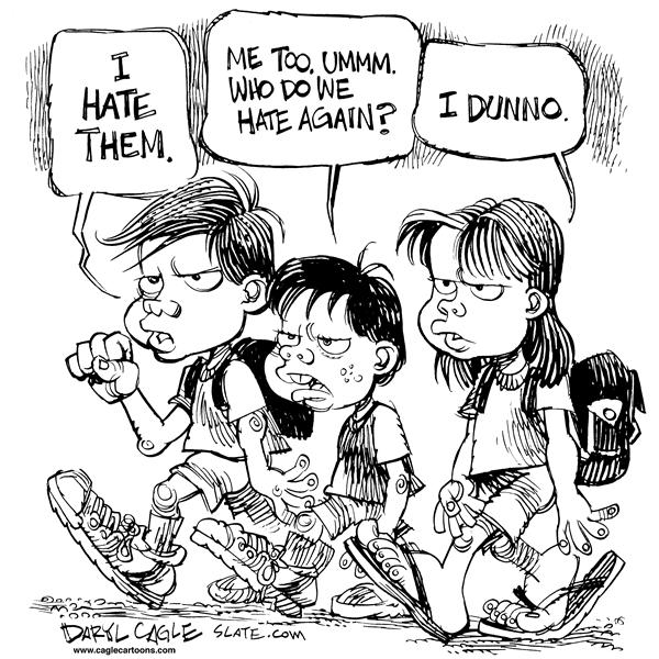 Daryl Cagle - MSNBC.com - SPECIAL 9 11 I Hate Them - English - kids, September eleventh,  hate, sad, confused, 11th, 11, hate, special, 9/11, 9-ll, kids, children, terror, terrorism, hatred, attack, twin towers, Islam, Al-Qaeda, Muslims