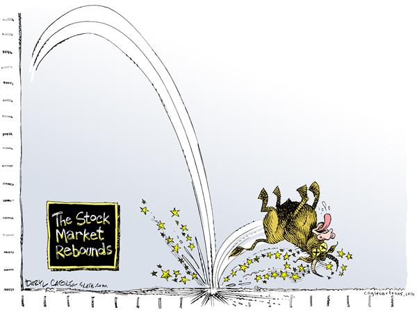 Daryl Cagle - MSNBC.com - Stock Market Rebounds COLOR - English - Stock Market, economy, bull, money, rebound, rebounds, fall, crash