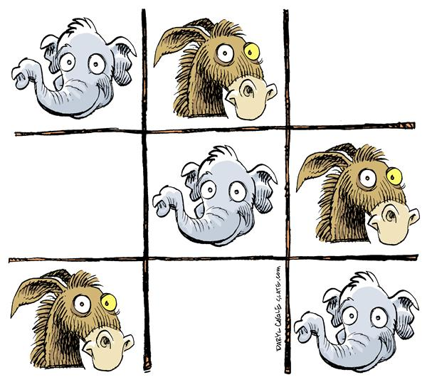 Daryl Cagle - MSNBC.com - COLOR GOP Winner - English - Tic Tac Toe, GOP, Republicans, Donkey, Jackass, Democrats, game, election, elephant, win, lose, campaign, victory