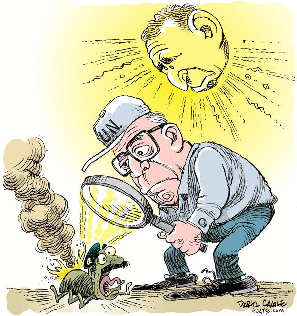 Daryl Cagle - MSNBC.com - COLOR Bush Blix and Bug - English - Hans Blix, United Nations, Iraq, weapons inspections, president Bush, Saddam Hussein, UN, magnifying glass, bug, burn, smoke, sun, rays, heat, kill, death