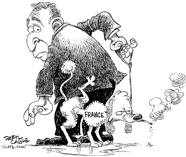 French Poodle Pee © Daryl Cagle,MSNBC.com,France, Iraq, United Nations, President George W. Bush, Bush, poodle, french, pee, cigarette, smoke, leash, support, weapons of mass destruction, war, UN