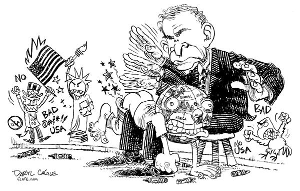 Daryl Cagle - MSNBC.com - Bush Spanks the World - English - President Bush, Anti-American, War, Iraq, World, America, United Nations, Europe, globe, Uncle Sam, Statue of Liberty, spanks, spanking