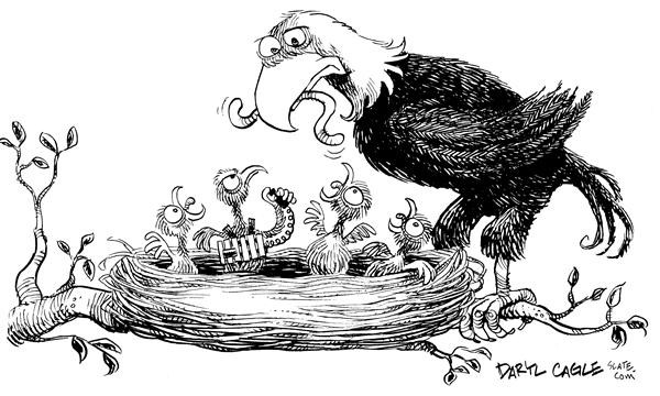 Daryl Cagle - MSNBC.com - Suicide Bomber Bird - English - Eagle, war, terrorism, Iraq, nest, worm, suicide, bomber