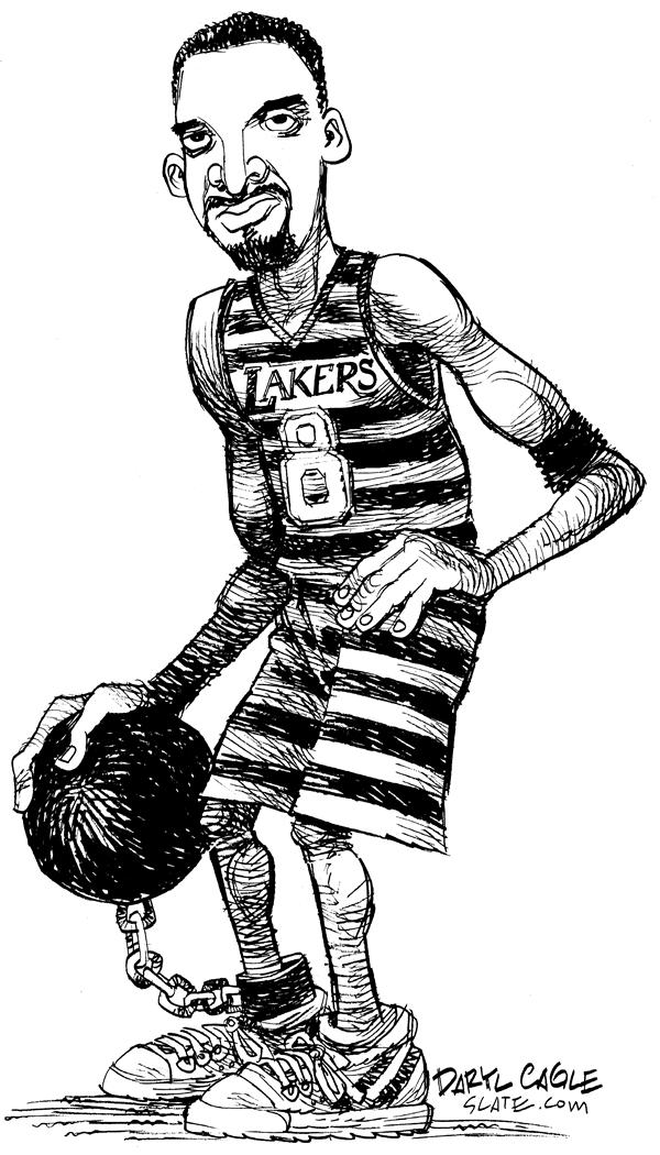 Daryl Cagle - MSNBC.com - Kobe Bryant - English - Basketball, NBA, National, Association, Lakers, Los Angeles, Rape, prison, prisoner, criminal, sports, accusation, scandal, Kobe Bryant, ball and chain