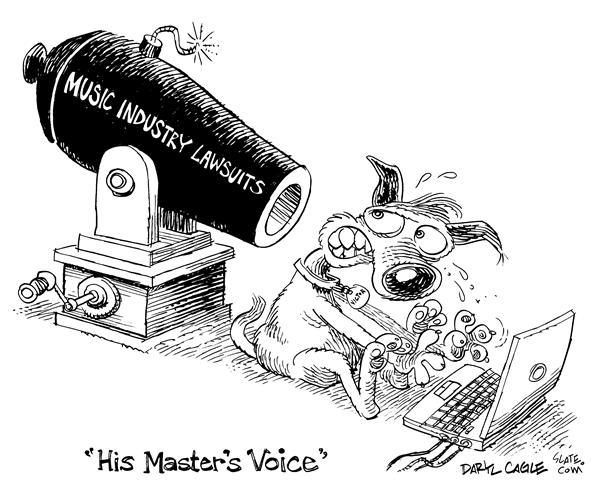 Daryl Cagle - MSNBC.com - His Masters Voice - English - RCA,Victor,logo,economy,music,entertainment,RIAA,law,court