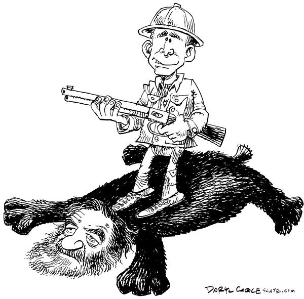 Daryl Cagle - MSNBC.com - Saddam Skin Rug - English - Saddam, Hussein, Iraq,bear,rug,hunt,gun, President Bush, death, execution