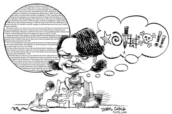 Daryl Cagle - MSNBC.com - Condi Rice Testimony - English - Condi, Condoleeza, Rice, National Security Advisor, Homeland, Security, 9/11, 9-11, commission