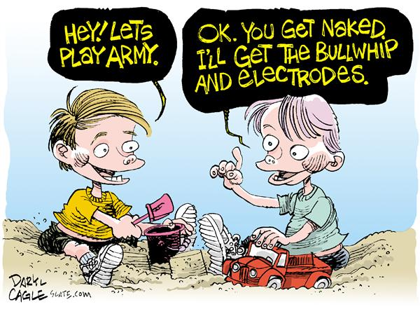 Play Army COLOR © Daryl Cagle,MSNBC.com,military, prison, Iraq, abuse, children, kids, sand, box, play, torture, sex, army