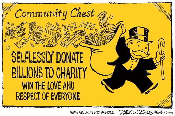 Buffett Donation Color © Daryl Cagle,MSNBC.com,Bill and Melinda Gates Foundation, billions, Warren Buffett,charity,money,Berkshire Hathaway, Monopoly, donation, chest, respect, love, game