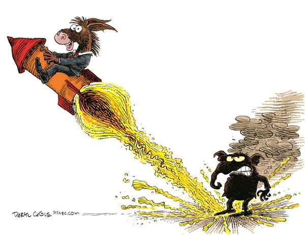 Democrats Flying High © Daryl Cagle,MSNBC.com,donkey, ass, democrat, republican, elepahnt, rocket, fire, flame, burn, burned, election, vote, victory, flying, high
