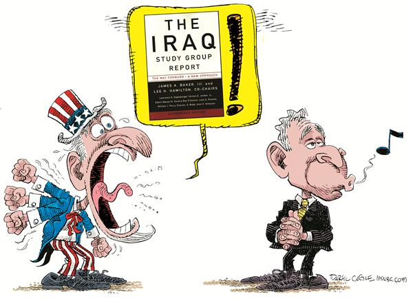Iraq Study Group Yell Color © Daryl Cagle,MSNBC.com,Iraq Study Group Uncle Sam, President Bush, book, James Baker,Lee Atwater