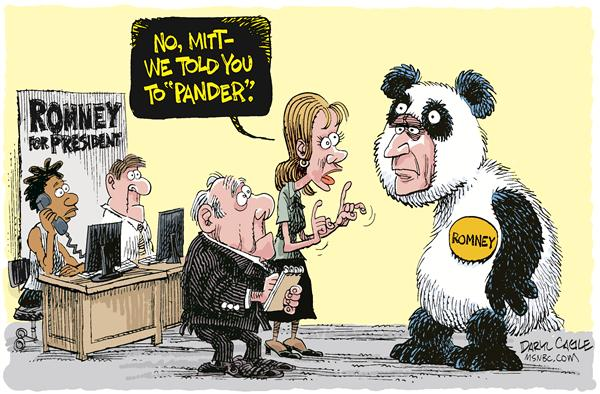 Romney Pander © Daryl Cagle,MSNBC.com,Mitt Romney, panda, pander, Massachusetts governor, Mormon, president, presidential, campaign