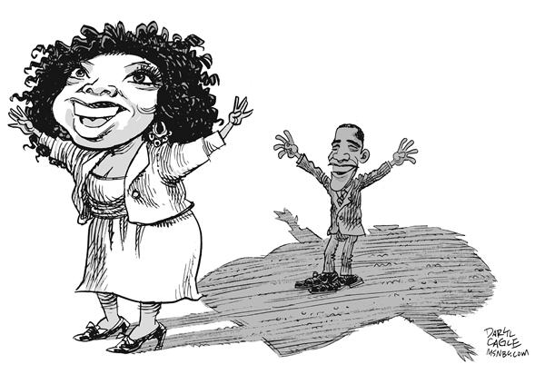 Oprah and Obama © Daryl Cagle,MSNBC.com,Oprah Winfrey,Barack Obama,shadow,campaign,presidential