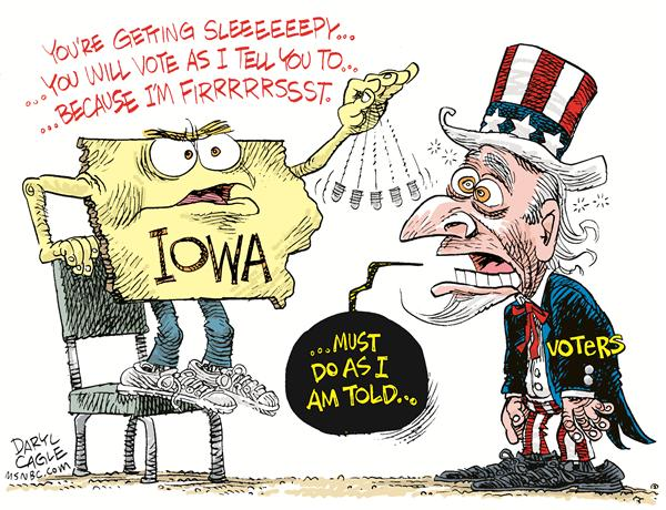 Iowa and USA Voters COLOR © Daryl Cagle,MSNBC.com,Uncle Sam,Iowa,Caucuses,caucus,Iowa Caucuses,primar,presidential election,president,state,hypnotize,hyponitism