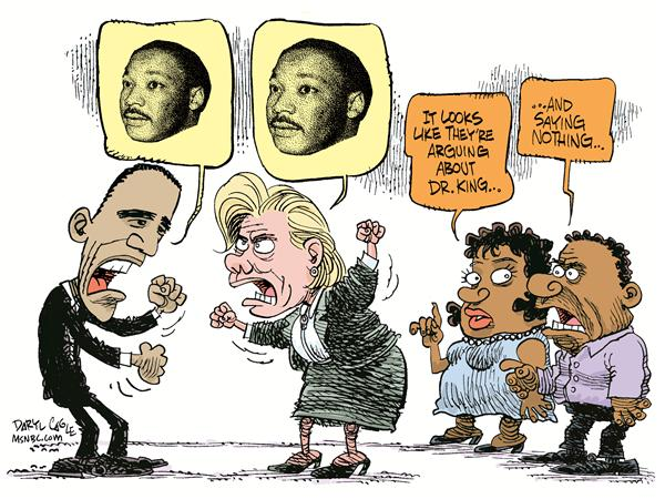 Dr King  Hillary and Obama © Daryl Cagle,MSNBC.com,Doctor, MartinLuther King,MLK,Hillary Clinton, Barack Obama