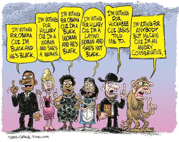 Who to Vote For Color © Daryl Cagle,MSNBC.com,John McCain, Hillary Clinton, Barack Obama, Mike Huckabee, Fish, Ape, Monkey, preacher.black, race, vote
