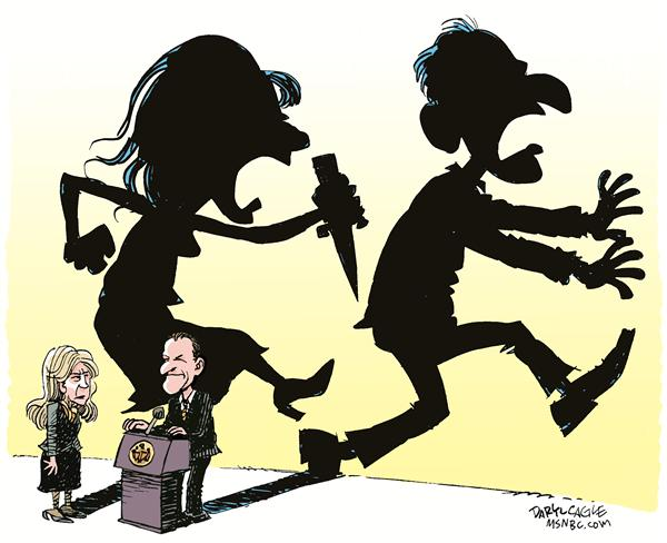 Spitzer Resigns Shadow Color © Daryl Cagle,MSNBC.com,Eliot Spitzer, resign, governor, New York, prostitute