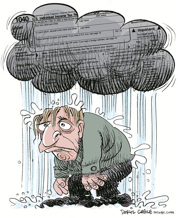 Daryl Cagle - MSNBC.com - Tax Cloud - English - income tax,april 15,tax day,cloud,rain
