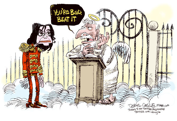 Daryl Cagle - MSNBC.com - Michael Jackson and the Pearly Gates COLOR - English - Michael Jackson,heaven,St. Peter,Pearly gates,Obituary,memorial