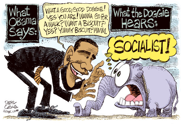 Obama Coaxes Republicans COLOR © Daryl Cagle,MSNBC.com,President Barack Obama,Republicans,GOP,elephant,biscuit,health care,congress,socialist,socialism,dog,doggie