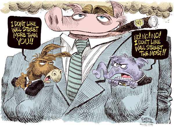 Deep Pockets on Wall Street Color © Daryl Cagle,MSNBC.com,Donkey, Jack Ass, , elephant, republican, democrat, pig, financial regulation, Obama, Congress
