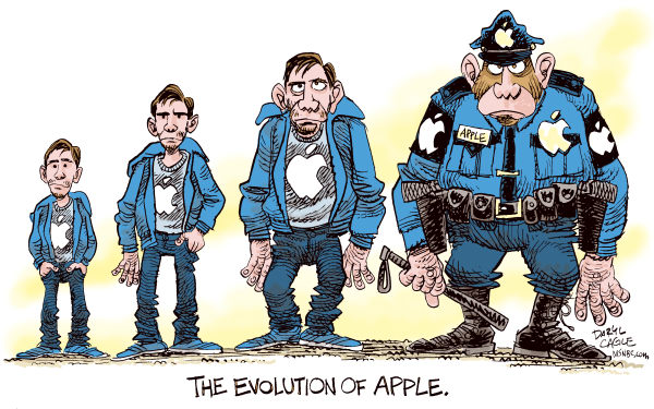 Daryl Cagle - MSNBC.com - The Evolution of Apple Computer Color - English - Justin Long,PC vs Mac,commercial,Gizmodo.com,iPhone,police,evolution,Darwin,monkey,apes,stolen property,journalism,search warrant