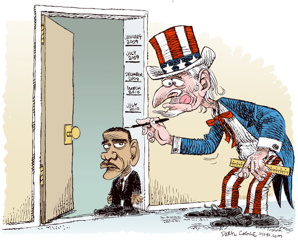 Daryl Cagle - MSNBC.com - Obama Shrinks Color - English - Barack Obama, Uncle Sam, height, measure, ruler, measure, growing up, grow, shrink, polls, popularity, president, doorway