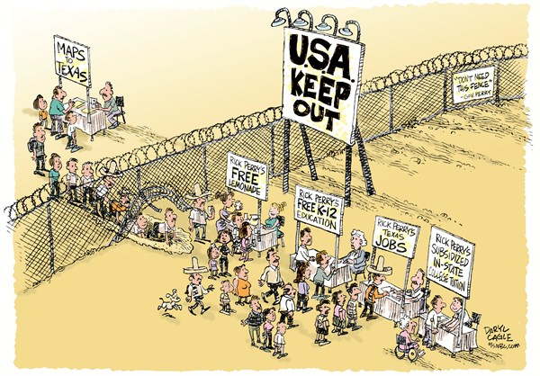Rick Perry Border Fence COLOR © Daryl Cagle,MSNBC.com,border fence, Teas, Governor Rick Perry, illegal immigrants, undocumented workers, jobs, in-state tuition, subsidy, republicans, Campaign 2012, taxes, government
