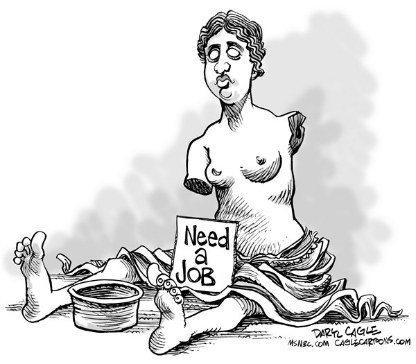 Daryl Cagle - MSNBC.com - Greece Needs Work - English - Greece,Euro,Euro Zone,bailout,austerity,Venus De Milo,statue,Need Job,Begger,homeless