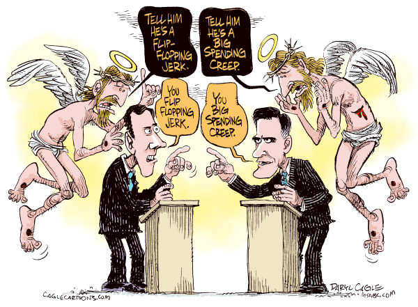 Daryl Cagle - MSNBC.com - Republican Debate and Jesus COLOR - English - Jesus Christ,Mitt Romney,Rick Santorum,Republican Debate,Campaign,governor,senator,presidential,president