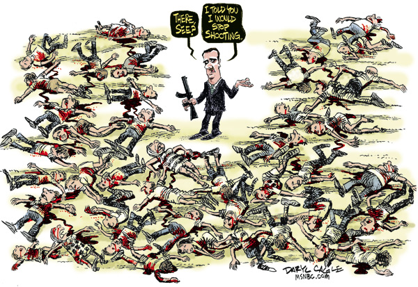 Daryl Cagle - MSNBC.com - Assad Stops Shooting COLOR - English - Syria,Bashar Assad,civil war,blood,shooting,gun