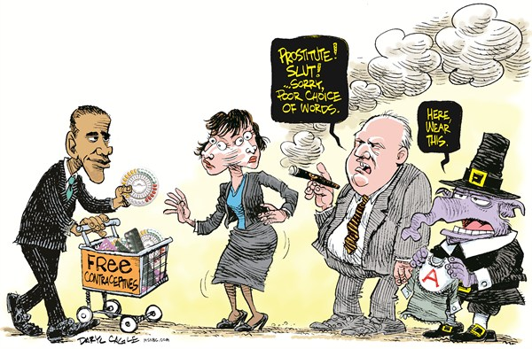 Daryl Cagle - MSNBC.com - Rush Limbaugh Poor Choice of Words COLOR - English - Barack Obama,contraceptives,birth control,the pill,The Scarlet Letter,pilgrim,puritan,Rush Limbaugh,prostitute,slut Sandra Fluke,congress,hearing,Pbamacare,health care