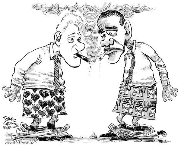 Daryl Cagle - MSNBC.com - Clinton and Obama Boxers - English - Bill Clinton,Barack Obama,gasoline,gas,shorts,boxers,hearts,gas pump,energy,cigarette,cigar