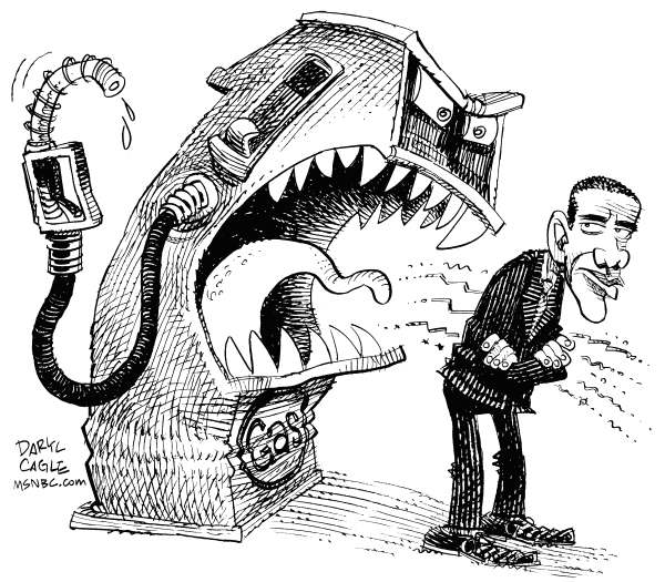 Gas Prices and Annoyed Obama © Daryl Cagle,MSNBC.com,President,Barack Obama