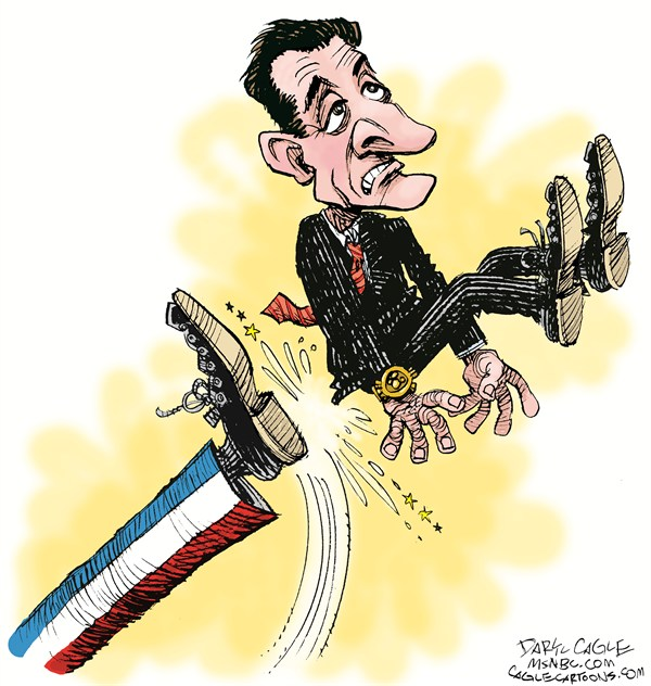 Daryl Cagle - MSNBC.com - Sarkozy Kicked Out COLOR - English - Nicolas Sarkozy,France,Hollande,election,president