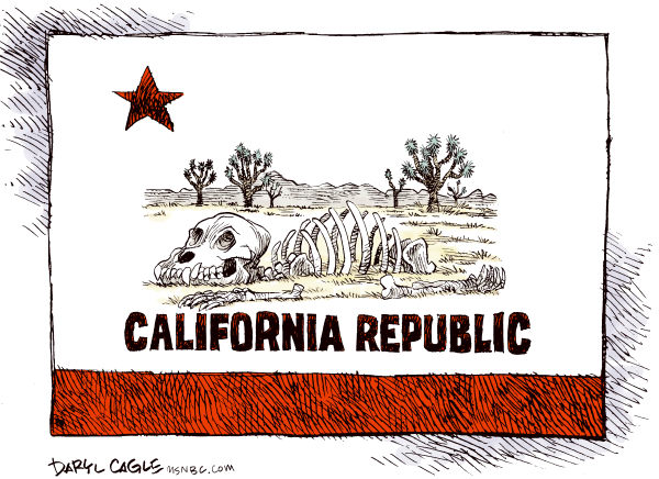 Daryl Cagle - MSNBC.com - California Bleached Bones COLOR - English - Flag,California,bear,skeleton,bones,desert,Joshua tree
