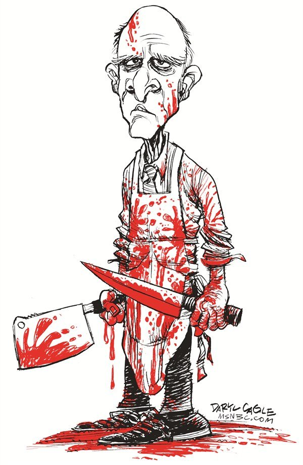 Daryl Cagle - MSNBC.com - Bloody California Governor Jerry Brown #2 - English - California Governor Jerry Brown, butcher, knife, violence, blood, bloody, apron, budget cuts, debt, taxes