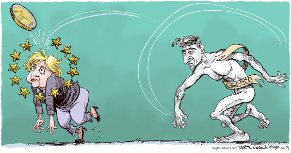 Daryl Cagle - MSNBC.com - Greece, Merkel and the Euro COLOR - English - Germany,Angela Merkel,euro,statue,discus,olympics,Greece