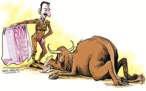 The Spanish Economy and the Euro © Daryl Cagle,MSNBC.com,bullfighting, bullfighter, matador, bull, euro, 500 Euro Note, Spain, spanish