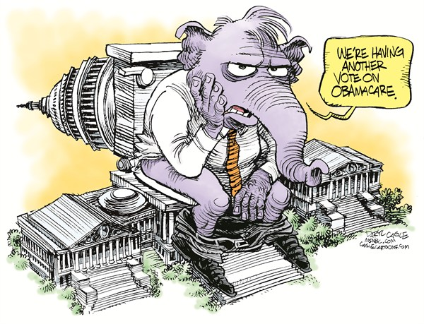 Daryl Cagle - MSNBC.com - GOP Vote on ObamaCare Again COLOR - English - Elephant, GOP, Capitol, Washington DC, toilet, Obamacare, healthcare, medicine