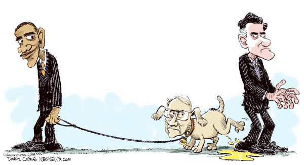 Daryl Cagle - MSNBC.com - Obama Attack Dog COLOR - English - Barack Obama,Senator Harry Reid,Mitt Romney,President,Presidential election,Campaign 2012,dog,pee,urine,attack,taxes,tax return