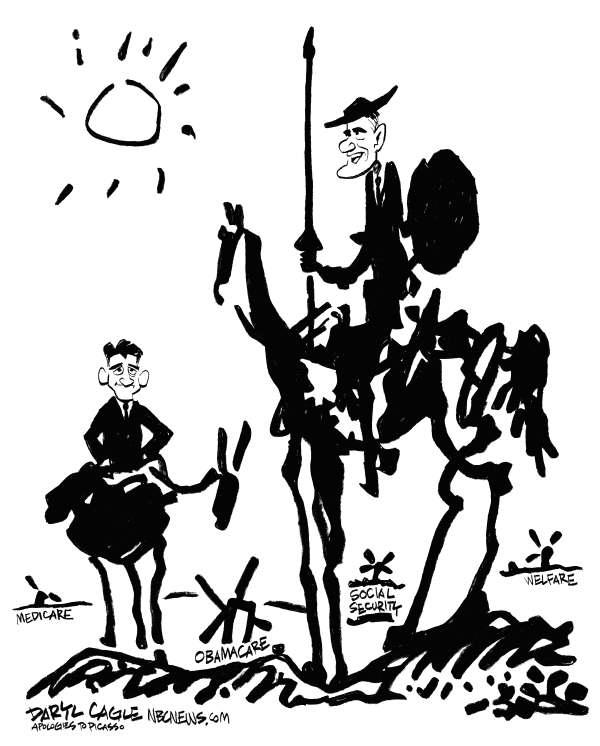 Daryl Cagle - MSNBC.com - Romney-Ryan Windmills - English - Pablo Picasso,Don Quixote,Sancho Panza,Paul Ryan,Mitt Romney,windmills,horse,donkey,Medicare,Obamacare,welfare,Social Security